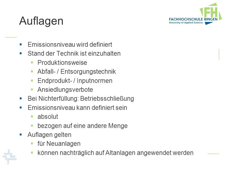 Auflagen Emissionsniveau wird definiert