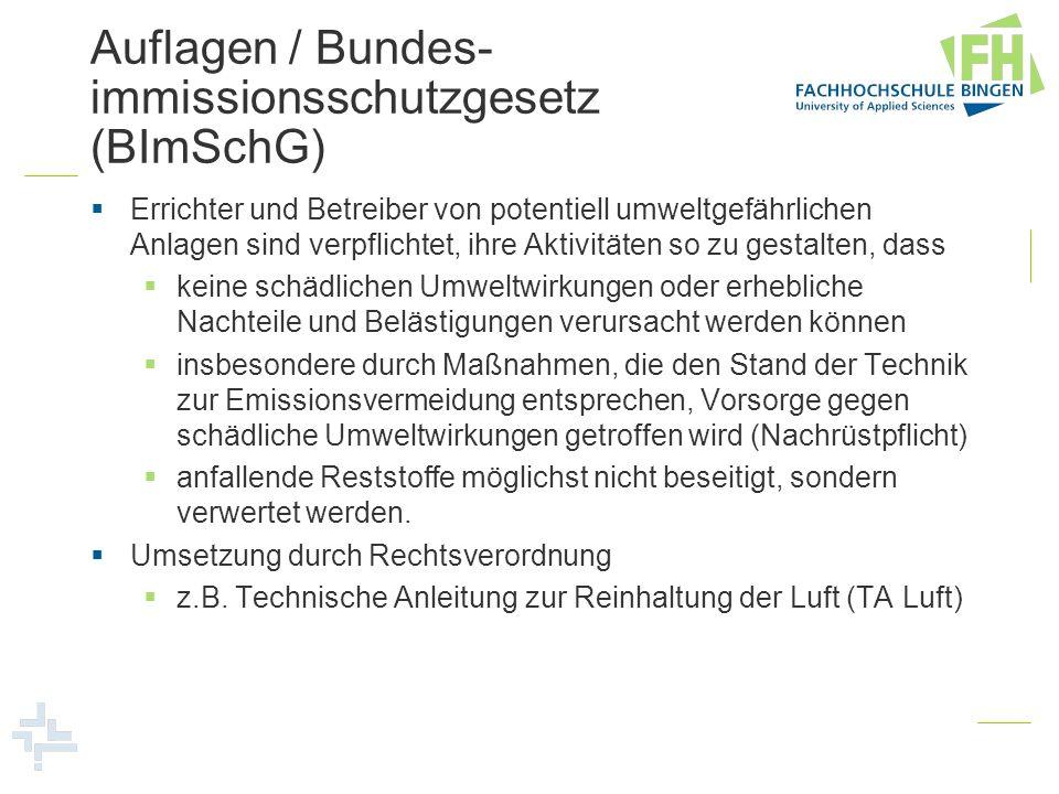 Auflagen / Bundes-immissionsschutzgesetz (BImSchG)