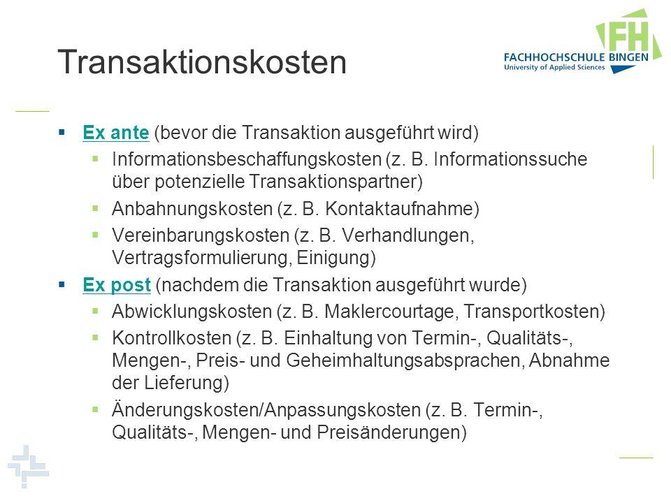 Transaktionskosten Ex ante (bevor die Transaktion ausgeführt wird)