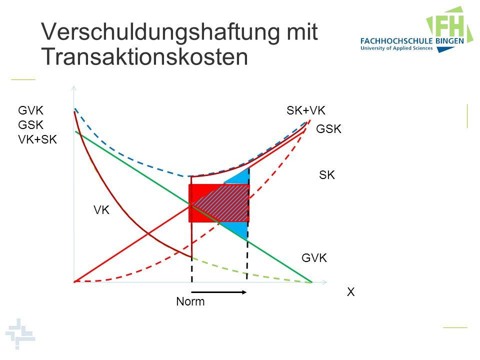 Verschuldungshaftung mit Transaktionskosten