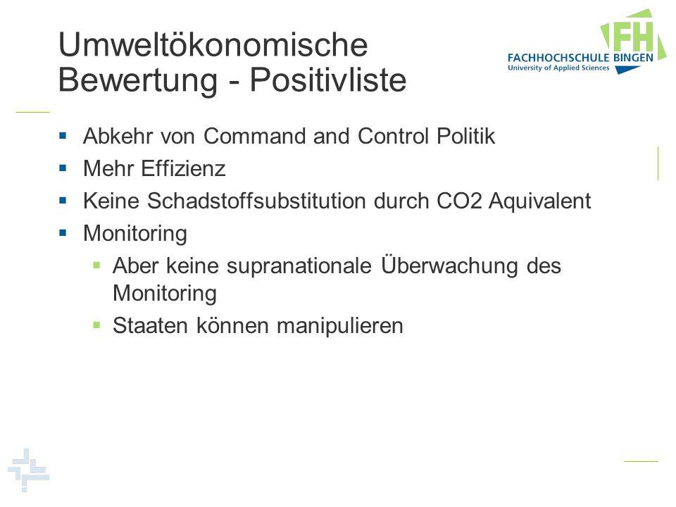 Umweltökonomische Bewertung - Positivliste