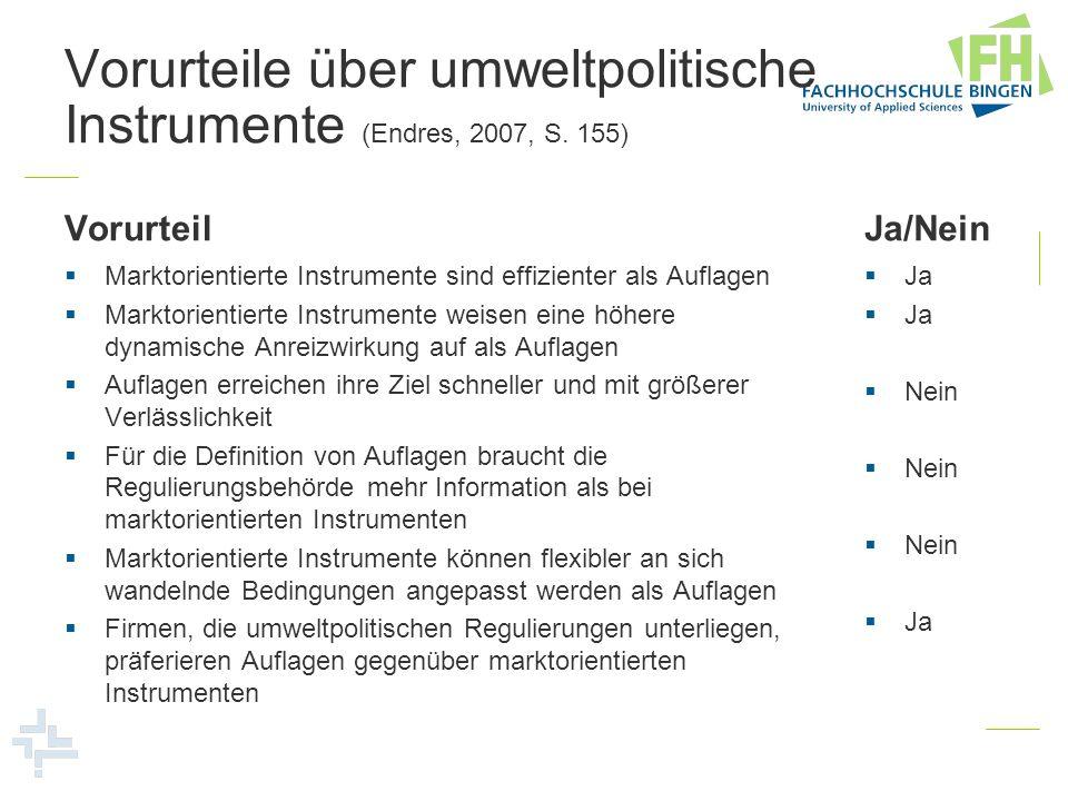 Vorurteile über umweltpolitische Instrumente (Endres, 2007, S. 155)