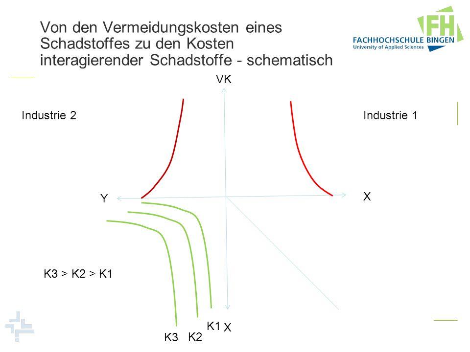 Von den Vermeidungskosten eines Schadstoffes zu den Kosten interagierender Schadstoffe - schematisch