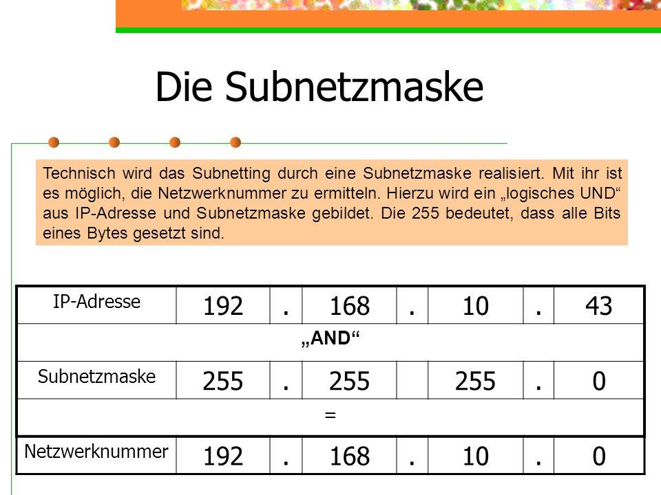 """Die Subnetzmaske 192 . 168 10 43 255 IP-Adresse """"AND Subnetzmaske ="""