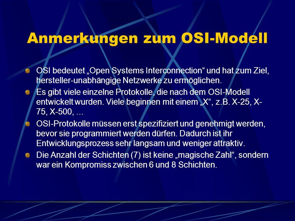 Anmerkungen zum OSI-Modell