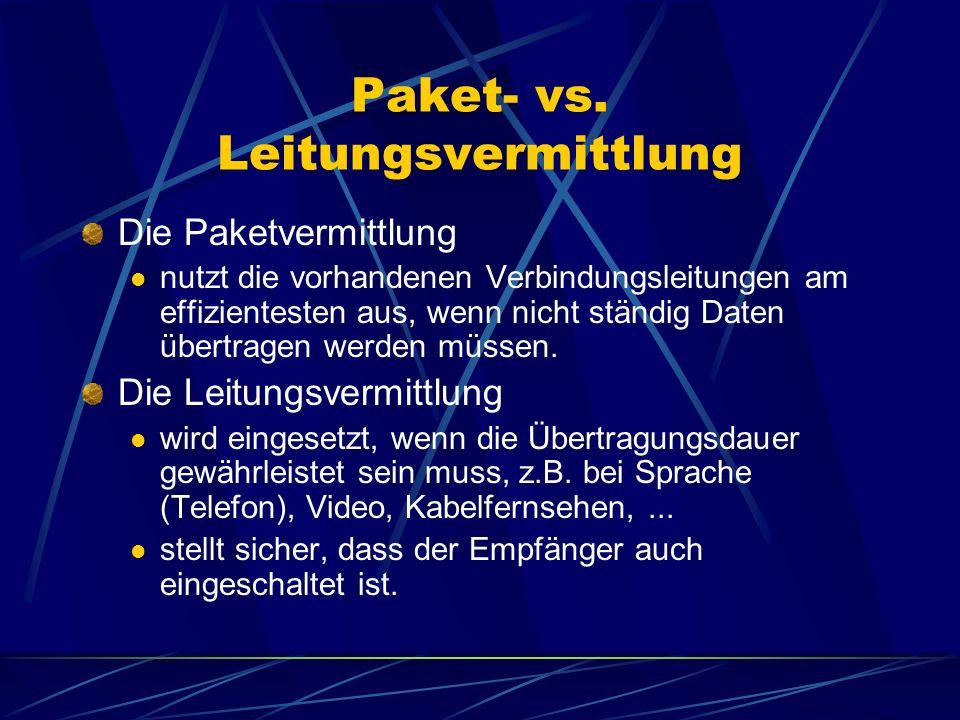 Paket- vs. Leitungsvermittlung
