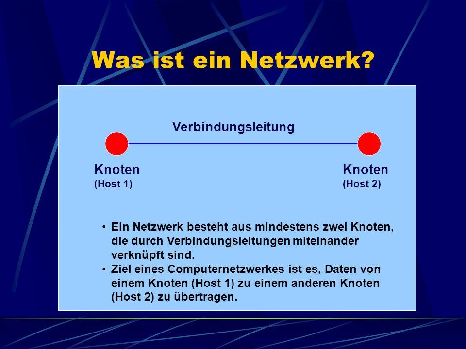 Was ist ein Netzwerk Verbindungsleitung Knoten Knoten