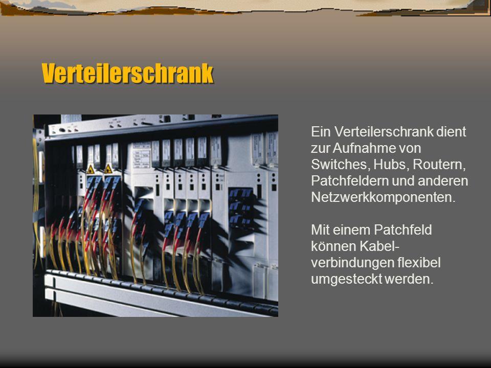VerteilerschrankEin Verteilerschrank dient zur Aufnahme von Switches, Hubs, Routern, Patchfeldern und anderen Netzwerkkomponenten.