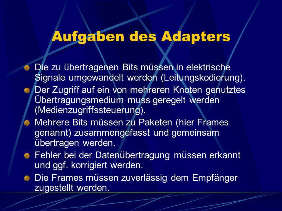 Aufgaben des Adapters Die zu übertragenen Bits müssen in elektrische Signale umgewandelt werden (Leitungskodierung).