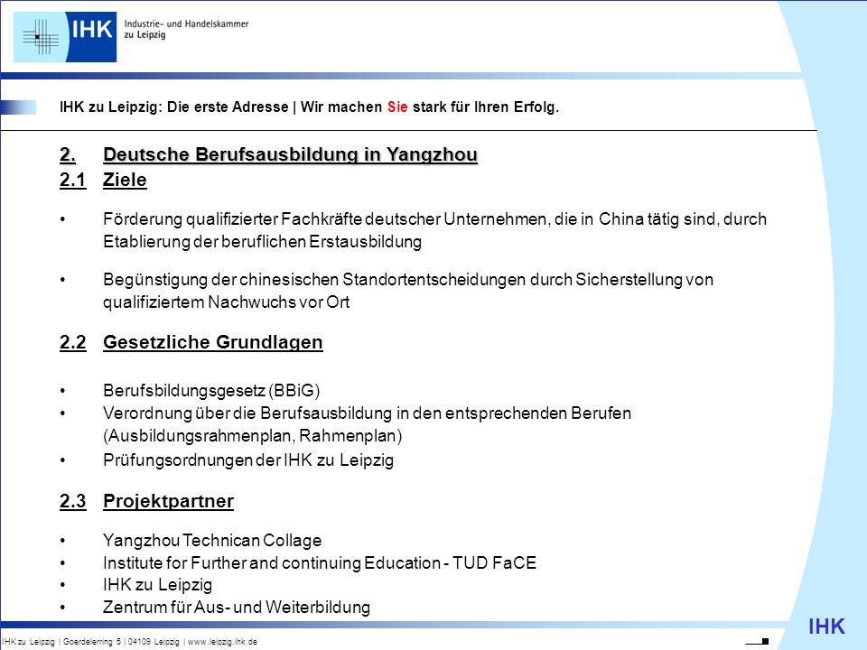 2. Deutsche Berufsausbildung in Yangzhou 2.1 Ziele