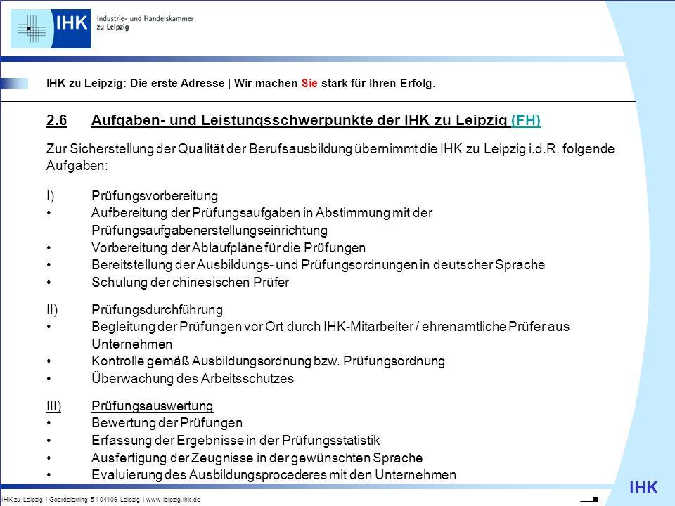 2.6 Aufgaben- und Leistungsschwerpunkte der IHK zu Leipzig (FH)
