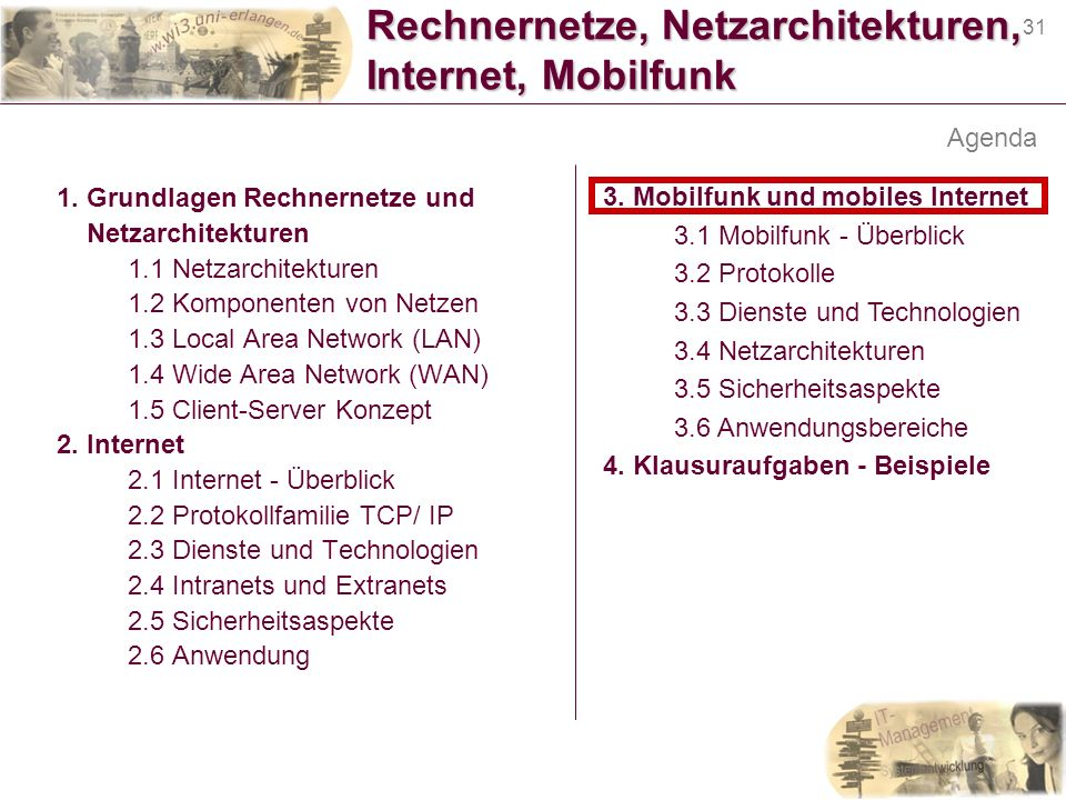 Rechnernetze, Netzarchitekturen, Internet, Mobilfunk
