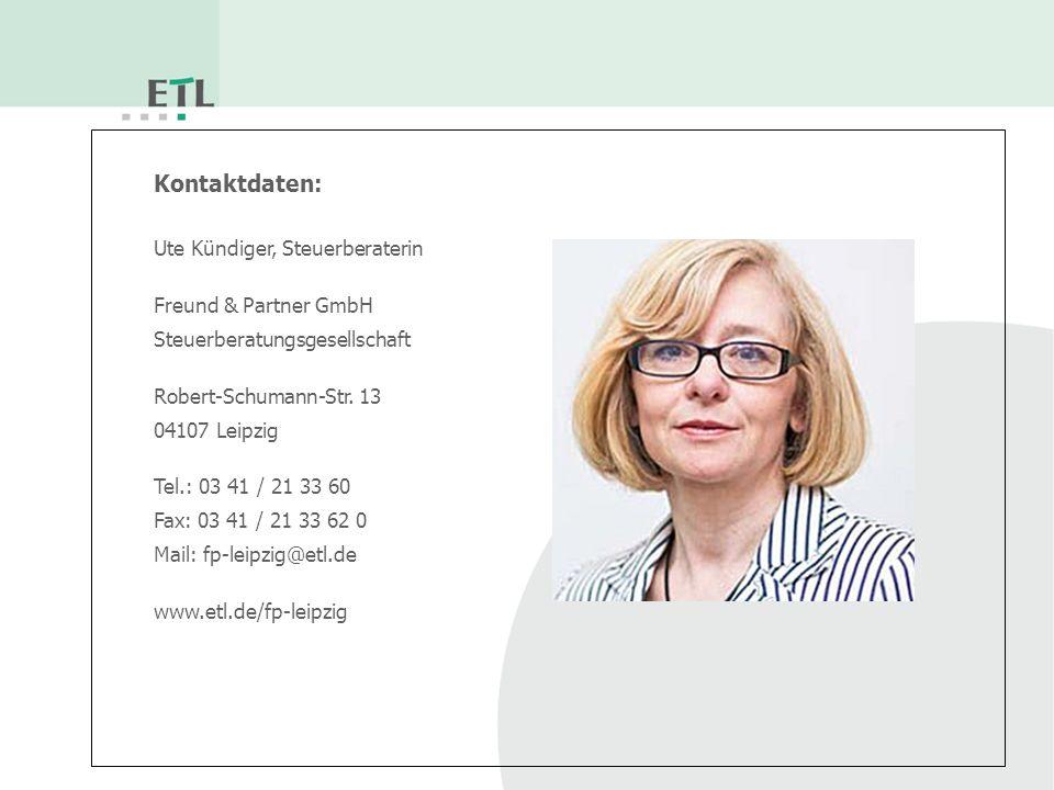 Kontaktdaten: Ute Kündiger, Steuerberaterin Freund & Partner GmbH