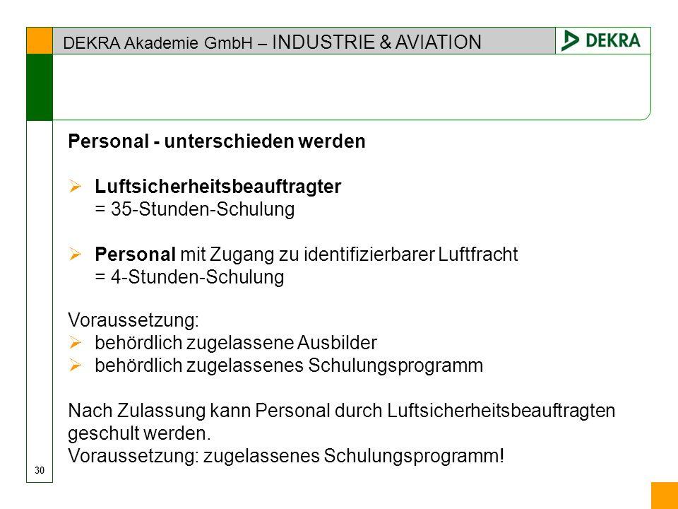 Personal - unterschieden werden Luftsicherheitsbeauftragter