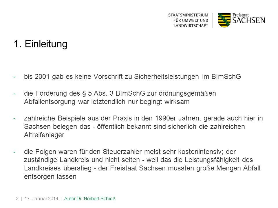 1. Einleitung bis 2001 gab es keine Vorschrift zu Sicherheitsleistungen im BImSchG.