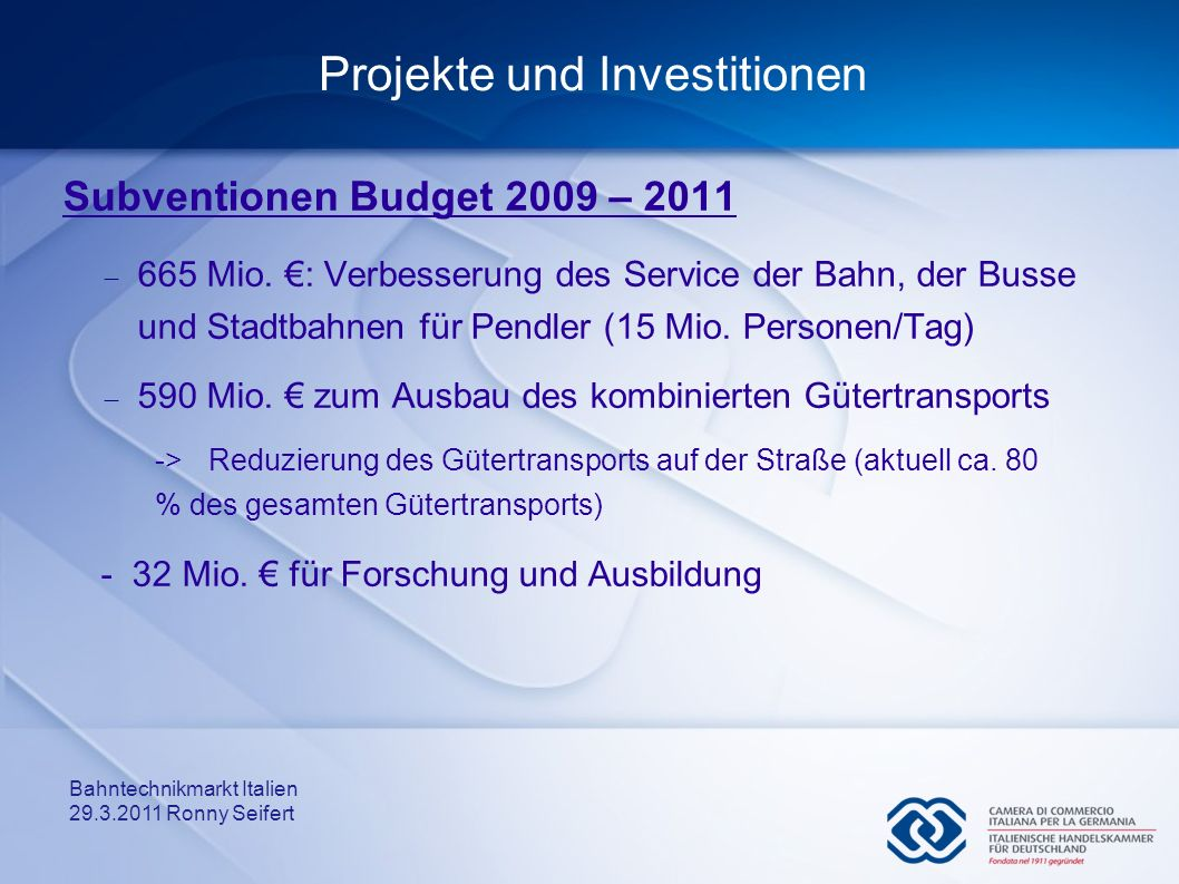 Projekte und Investitionen