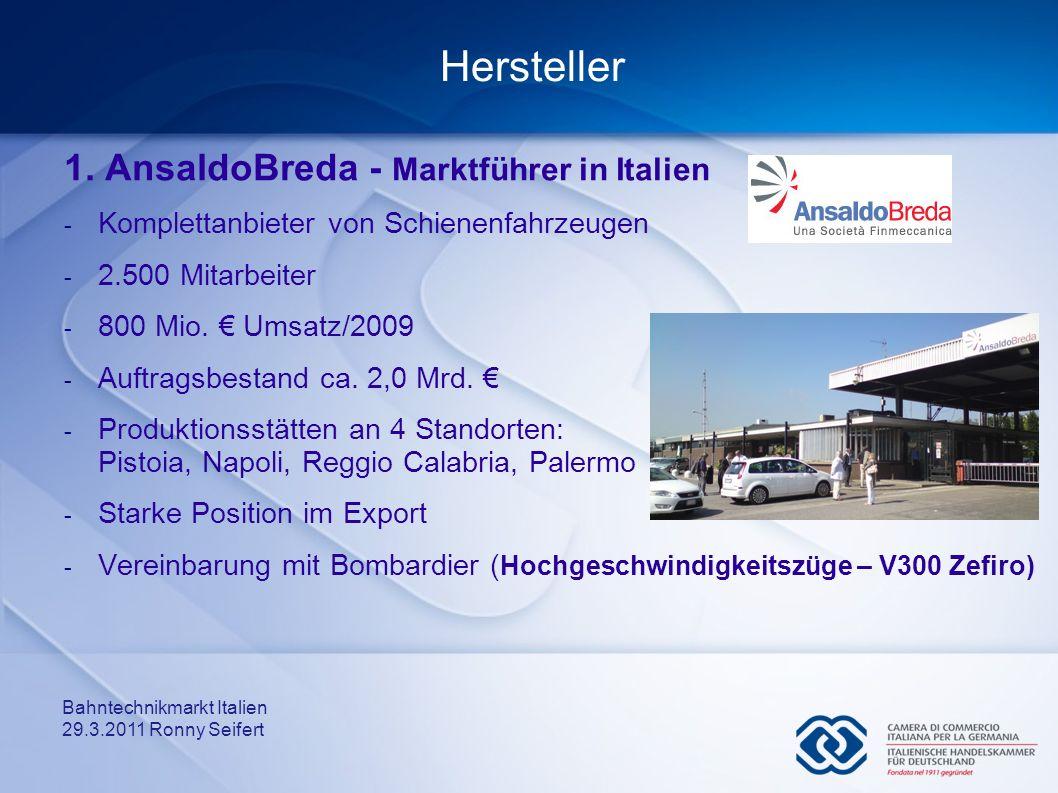 Hersteller 1. AnsaldoBreda - Marktführer in Italien