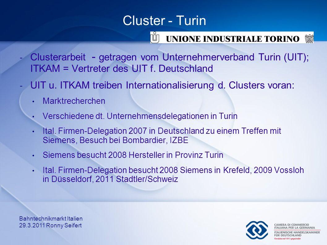 Cluster - Turin Clusterarbeit - getragen vom Unternehmerverband Turin (UIT); ITKAM = Vertreter des UIT f. Deutschland.