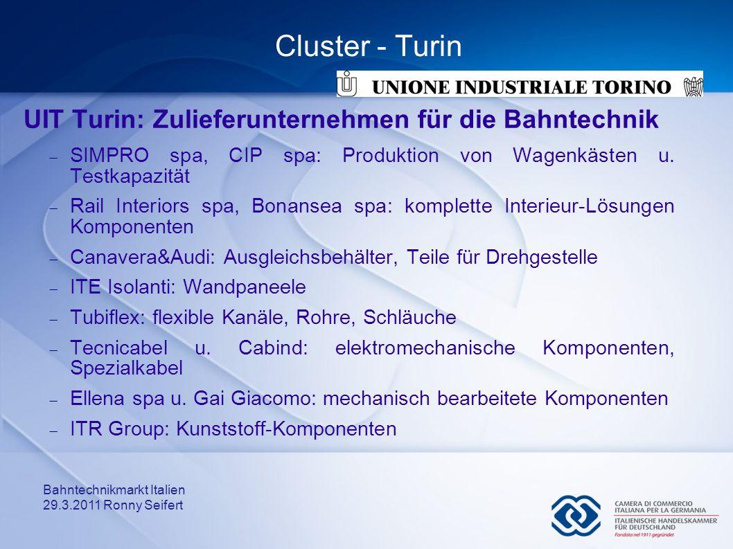 Cluster - Turin UIT Turin: Zulieferunternehmen für die Bahntechnik
