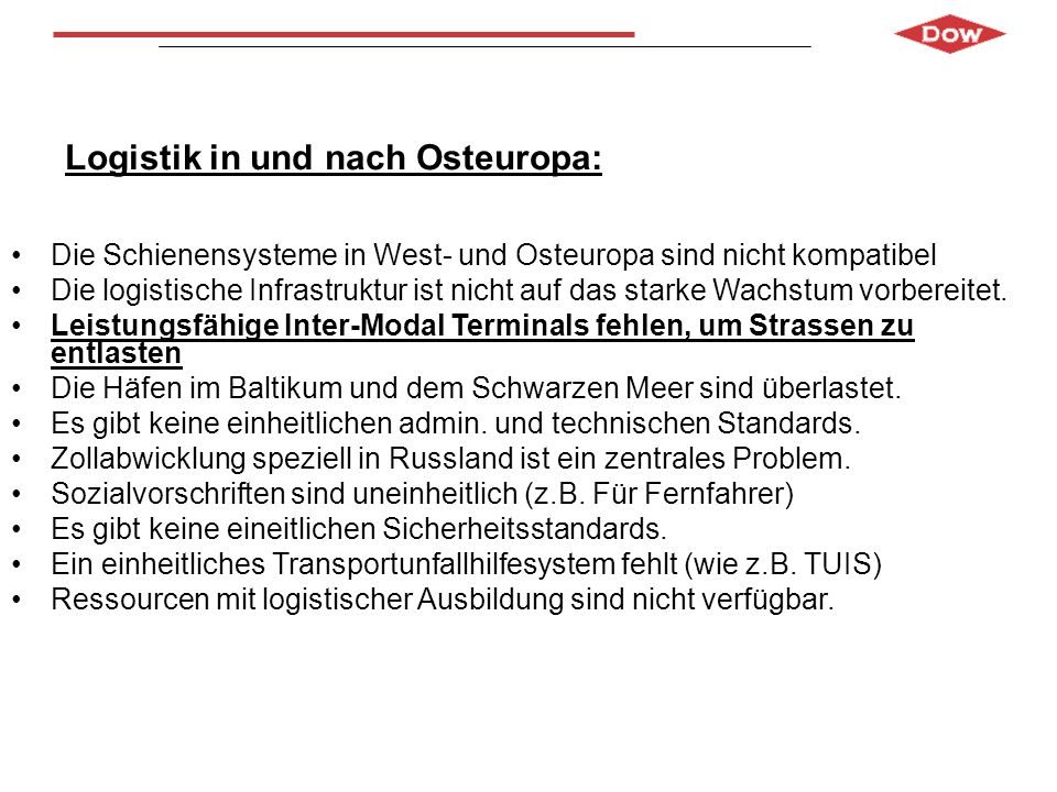 Logistik in und nach Osteuropa: