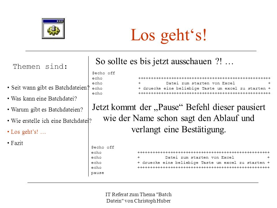 IT Referat zum Thema Batch Datein von Christoph Huber