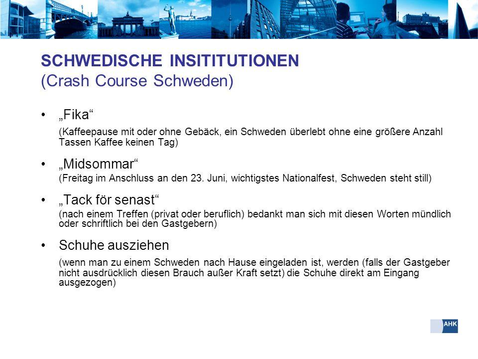 SCHWEDISCHE INSITITUTIONEN (Crash Course Schweden)