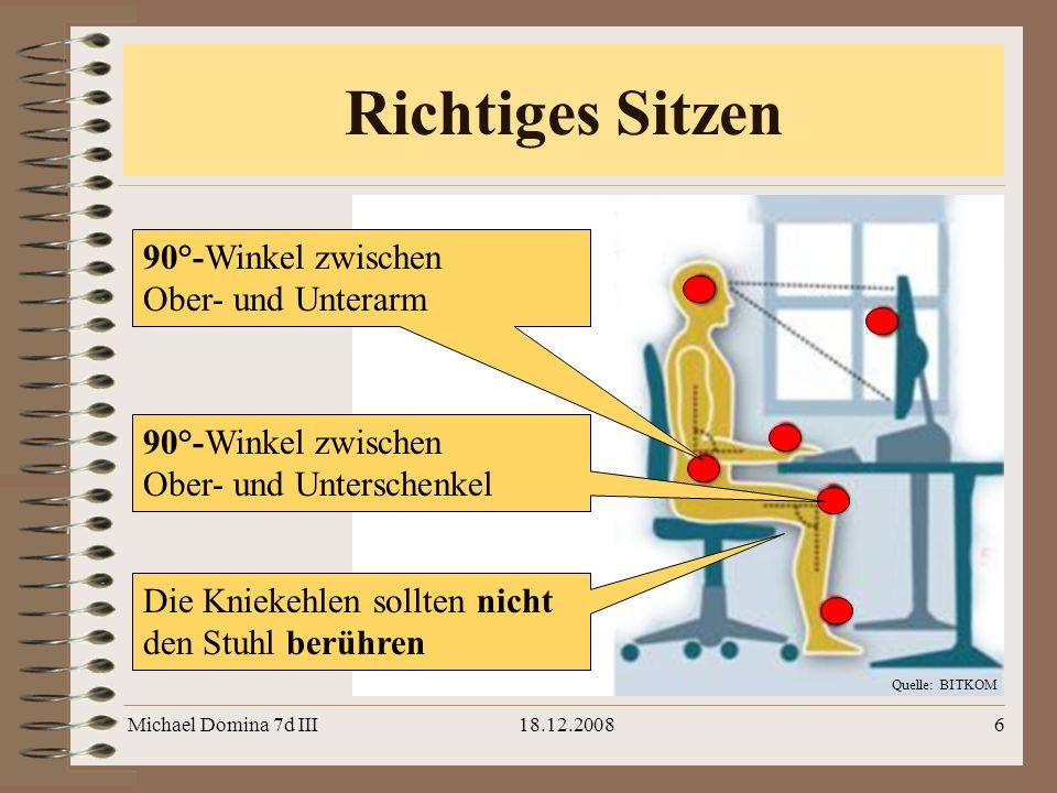 Richtiges Sitzen 90°-Winkel zwischen Ober- und Unterarm