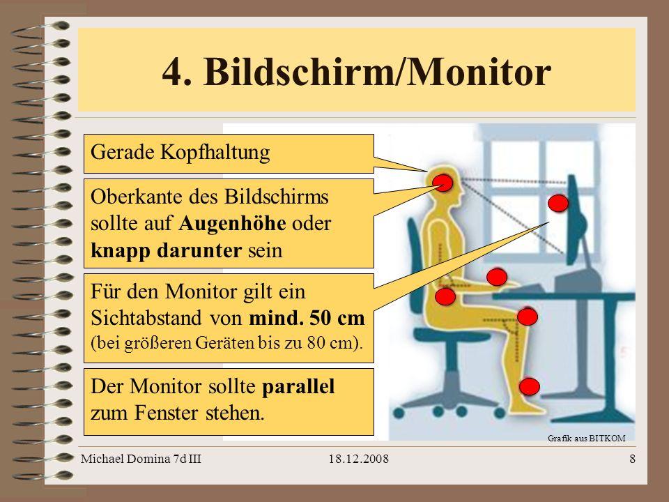 4. Bildschirm/Monitor Gerade Kopfhaltung