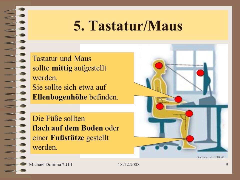 5. Tastatur/Maus Tastatur und Maus sollte mittig aufgestellt werden.
