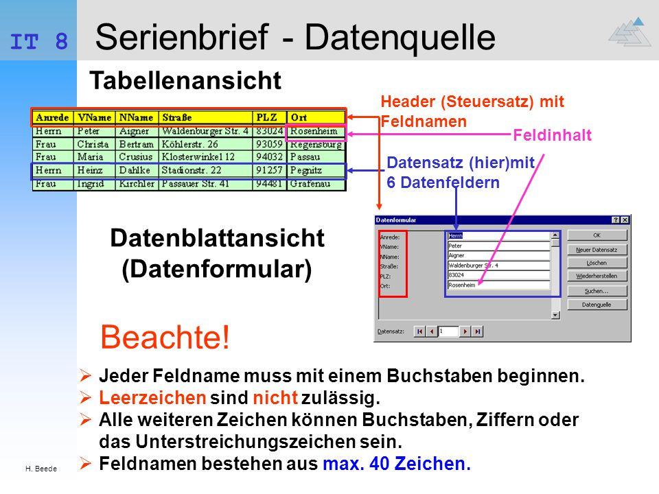 Serienbrief - Datenquelle