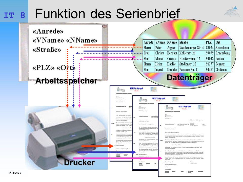Funktion des Serienbrief