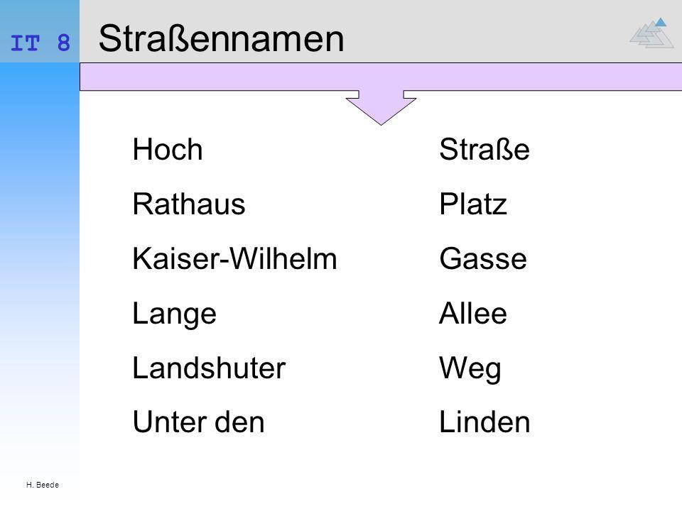 Straßennamen Hoch Rathaus Kaiser-Wilhelm Lange Landshuter Unter den
