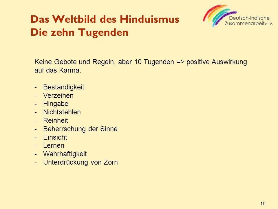 Das Weltbild des Hinduismus Die zehn Tugenden
