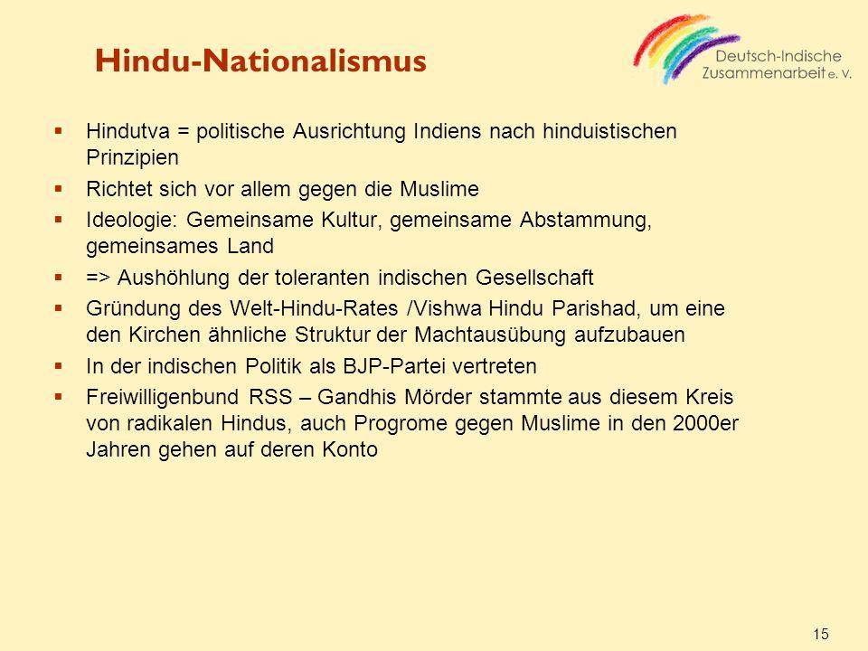 Hindu-Nationalismus Hindutva = politische Ausrichtung Indiens nach hinduistischen Prinzipien. Richtet sich vor allem gegen die Muslime.