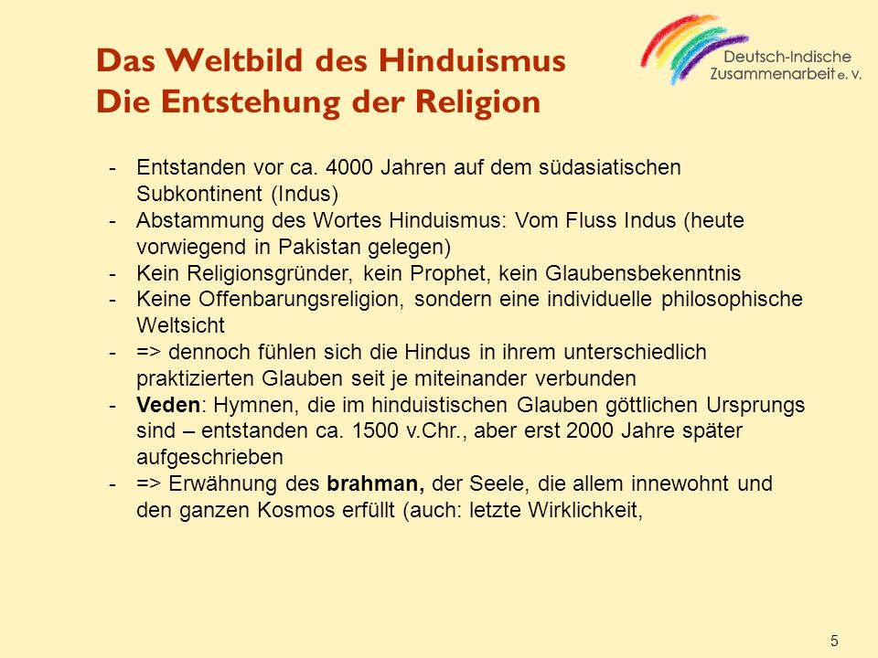 Das Weltbild des Hinduismus Die Entstehung der Religion