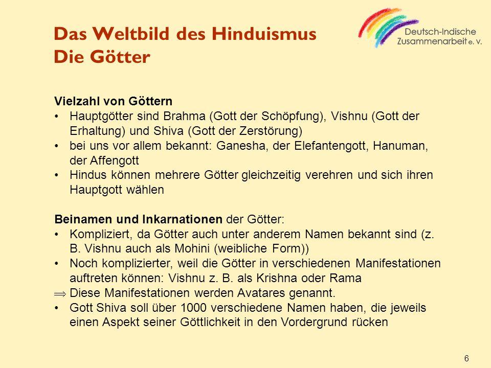 Das Weltbild des Hinduismus Die Götter