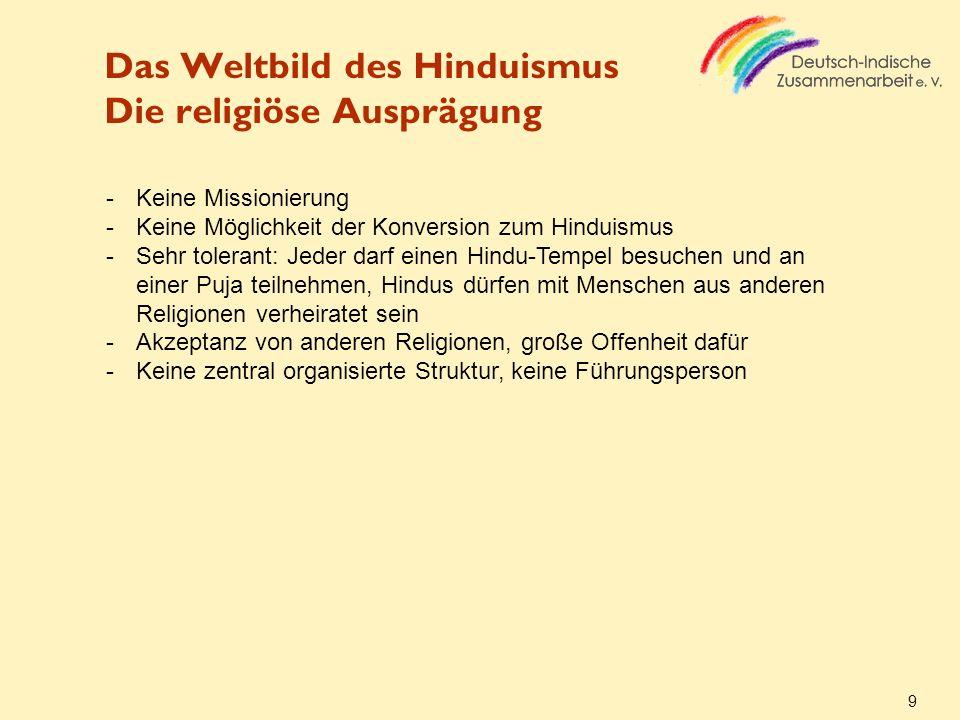 Das Weltbild des Hinduismus Die religiöse Ausprägung
