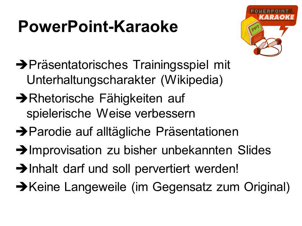 PowerPoint-Karaoke Präsentatorisches Trainingsspiel mit Unterhaltungscharakter (Wikipedia)