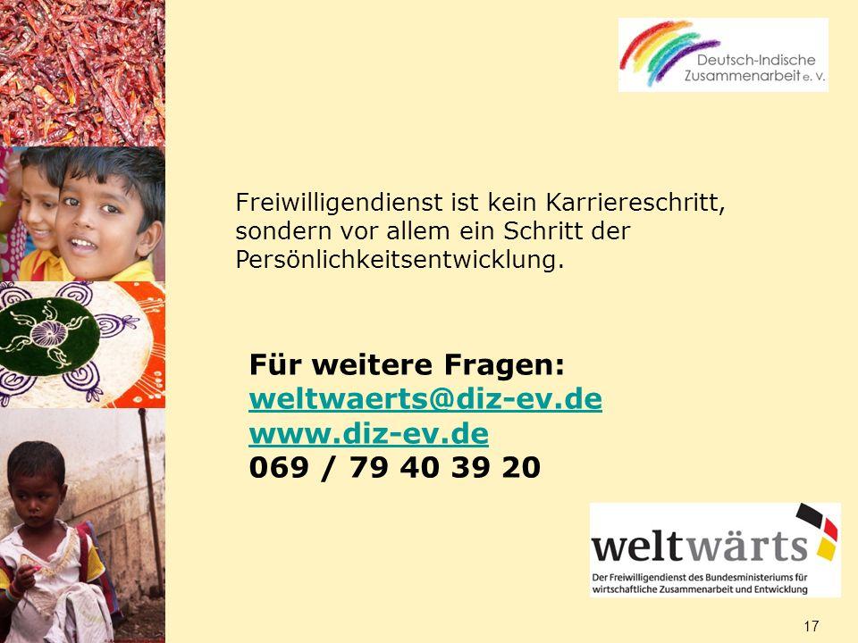 Für weitere Fragen: weltwaerts@diz-ev.de www.diz-ev.de