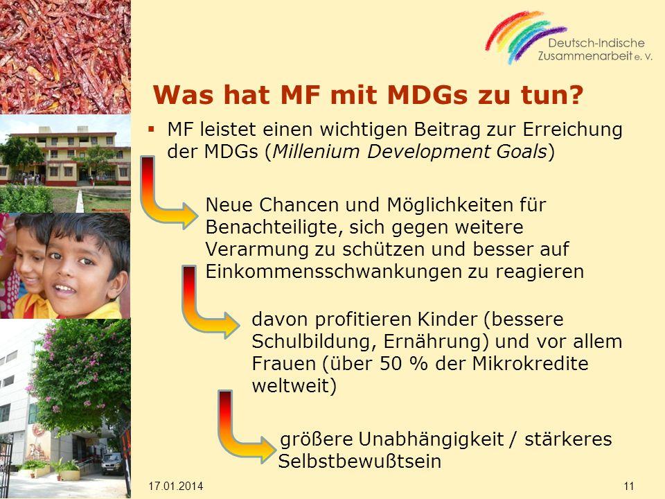Was hat MF mit MDGs zu tun