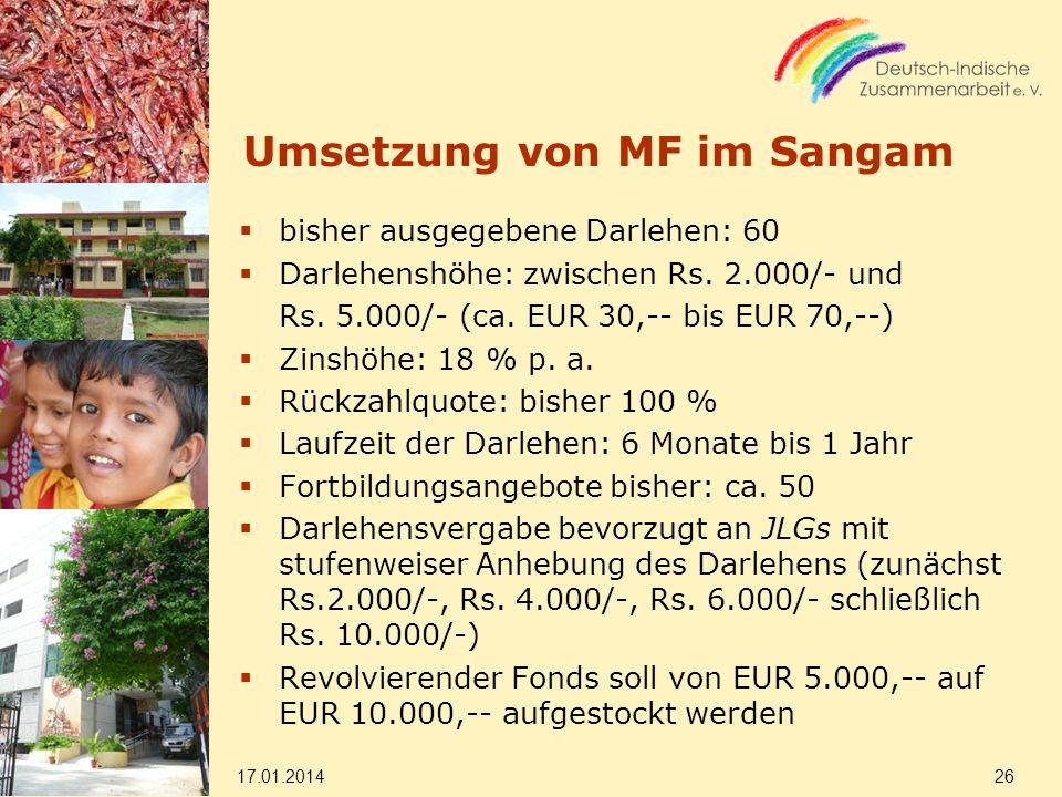Umsetzung von MF im Sangam