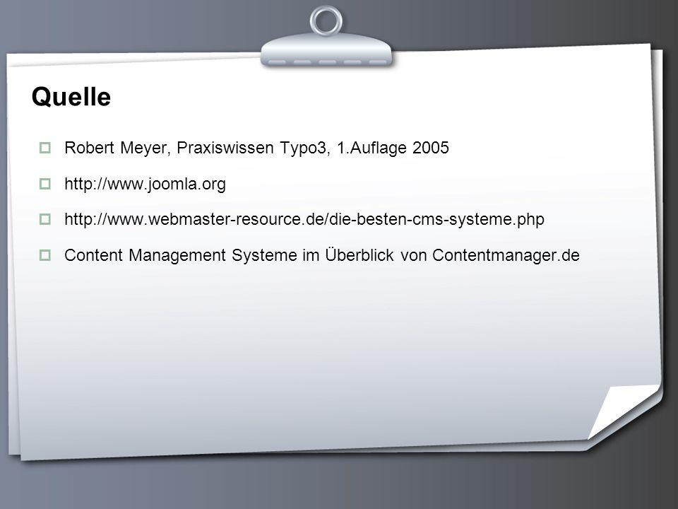 Quelle Robert Meyer, Praxiswissen Typo3, 1.Auflage 2005