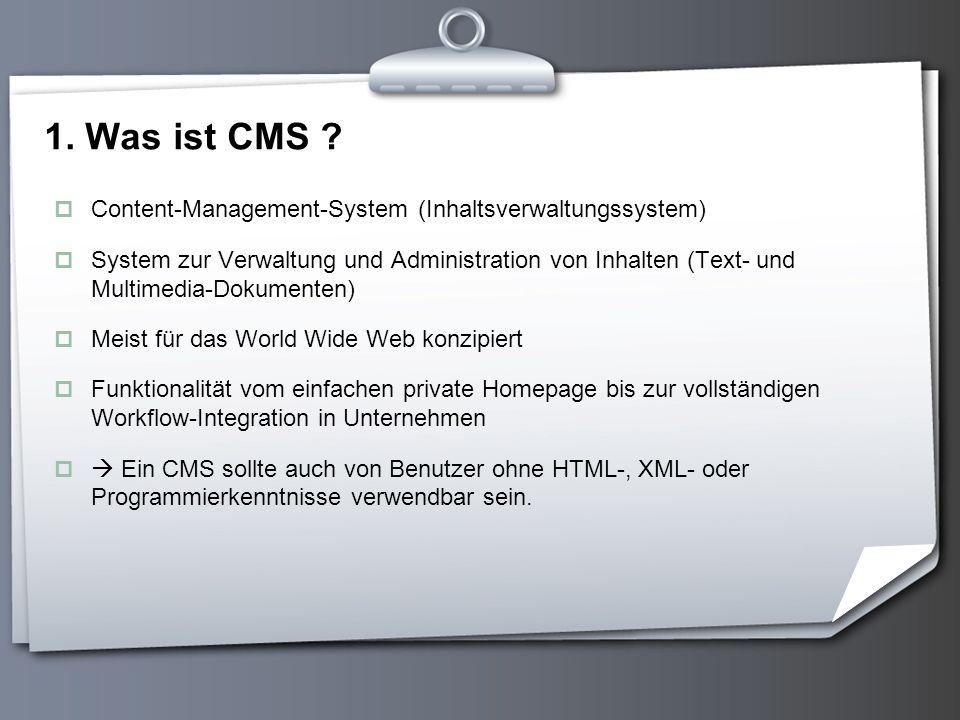1. Was ist CMS Content-Management-System (Inhaltsverwaltungssystem)