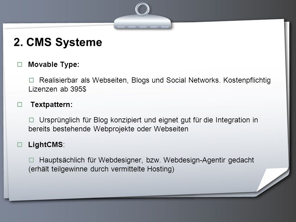 2. CMS Systeme Movable Type: