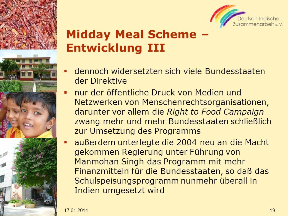Midday Meal Scheme – Entwicklung III