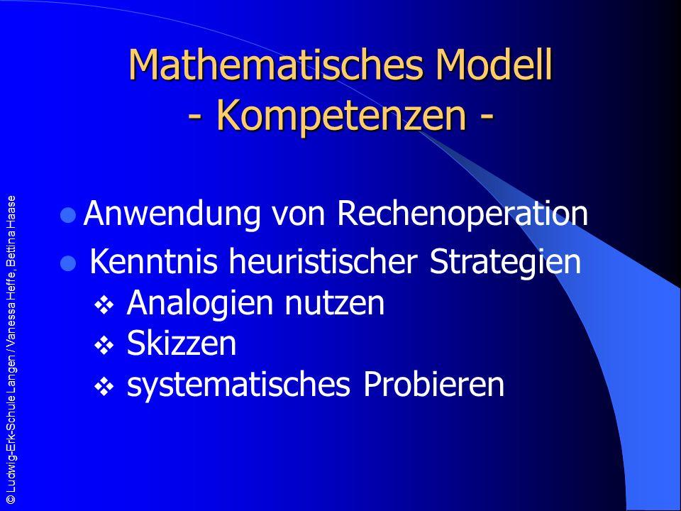Mathematisches Modell - Kompetenzen -