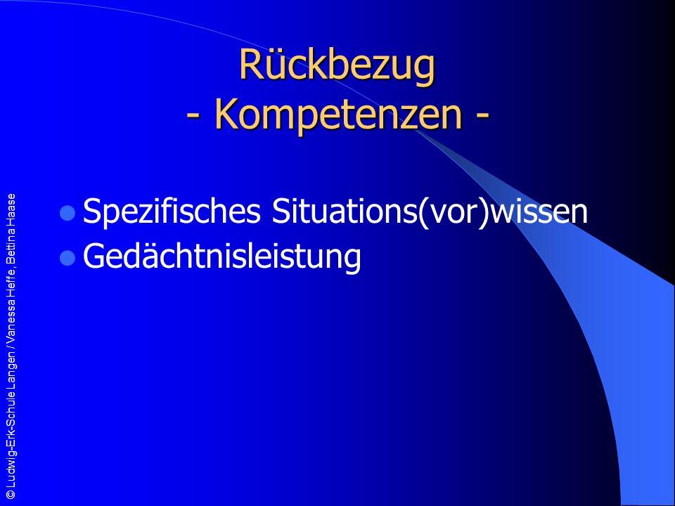 Rückbezug - Kompetenzen -