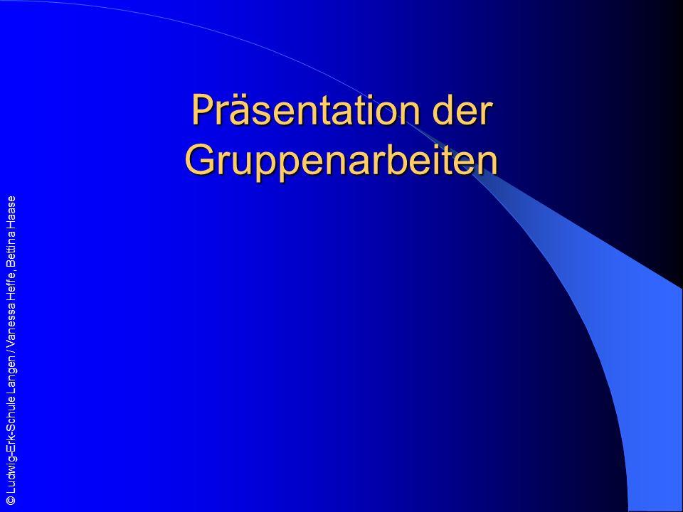 Präsentation der Gruppenarbeiten