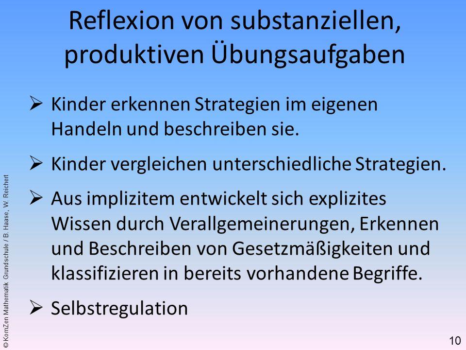 Reflexion von substanziellen, produktiven Übungsaufgaben