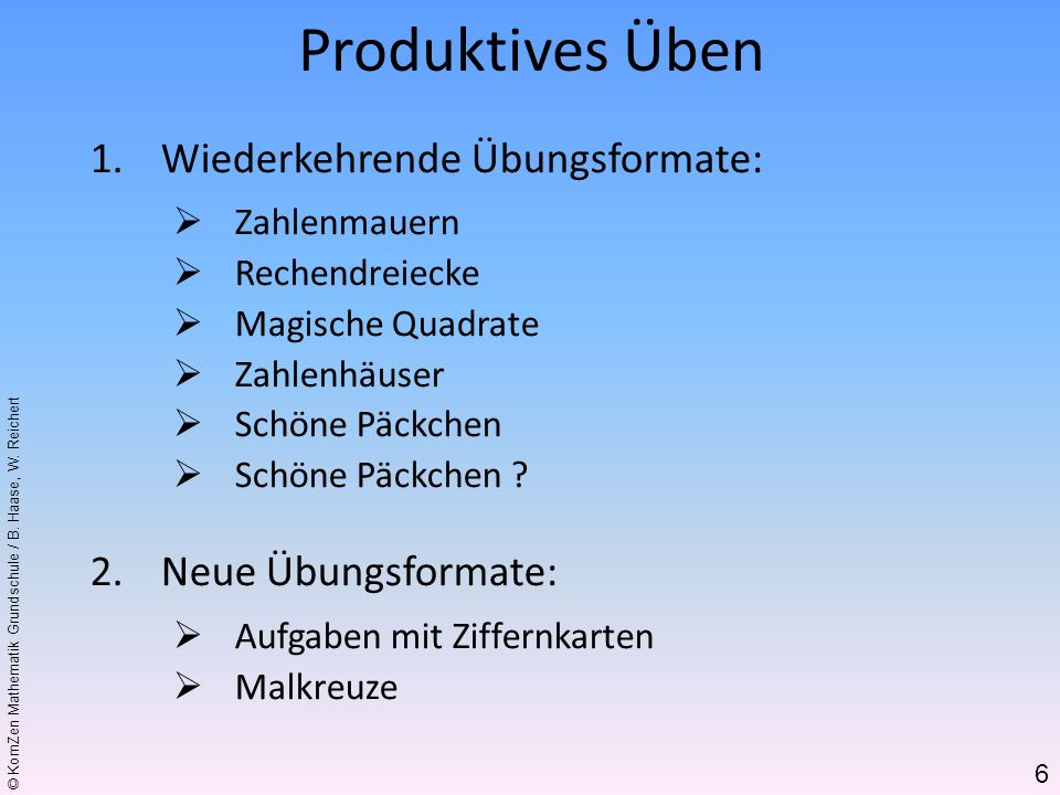 Produktives Üben Wiederkehrende Übungsformate: Neue Übungsformate:
